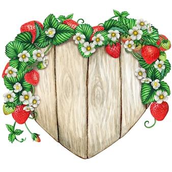 Coração em aquarela de madeira sinal coberto com galhos de morango