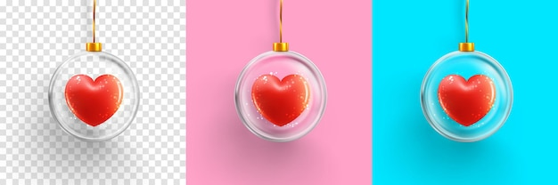 Coração em bola de vidro em rosa, azul e transparente.