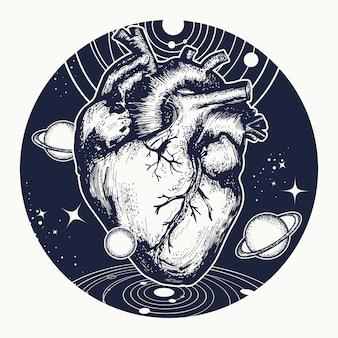 Coração, em, espaço, tatuagem