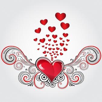 Coração em estilo grunge com clave de sol e muitos corações pequenos