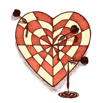 Coração em forma de alvo com emblema de setas