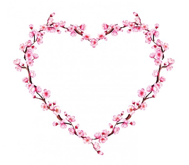 Coração em forma de coroa de flores em aquarela com ramos de sakura, flor de cerejeira.
