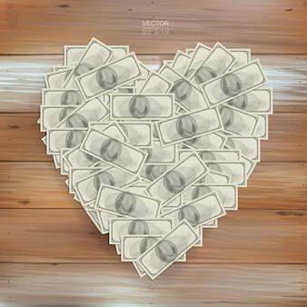 Coração em forma de dinheiro com muitas notas de dólar. ilustração vetorial.