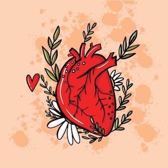 Coração em ilustração de estilo doodle para o dia dos namorados Vetor Premium
