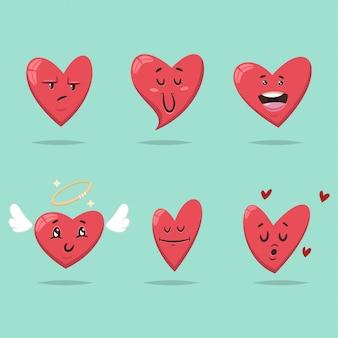 Coração engraçado com expressões diferentes do rosto e emoções