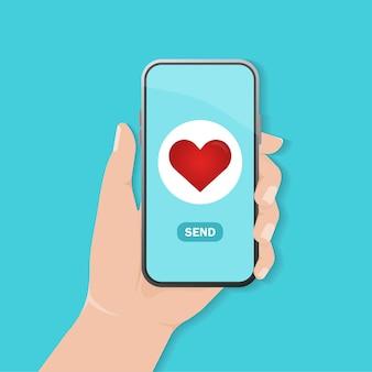 Coração enviar excelente design para qualquer finalidade tela do smartphone do projeto do coração