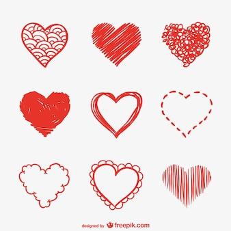 Coração esboços pacote vector