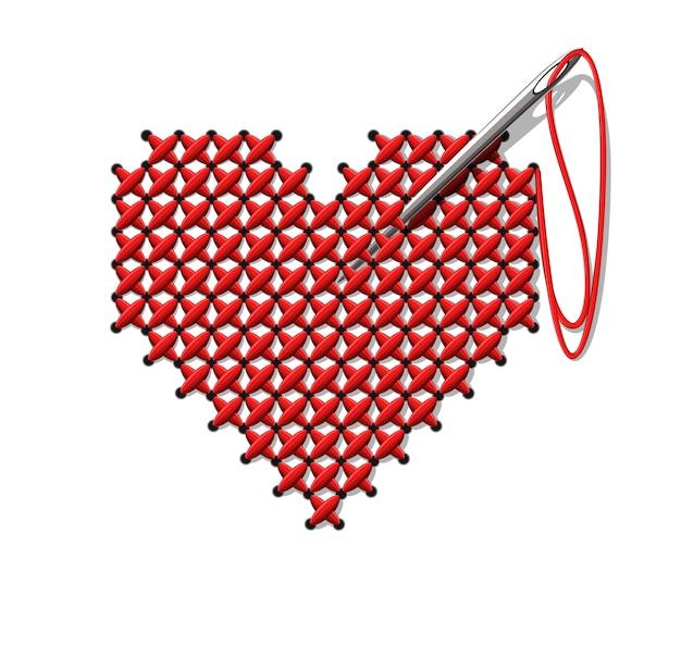 Coração feito à mão. ilustração em fundo branco.