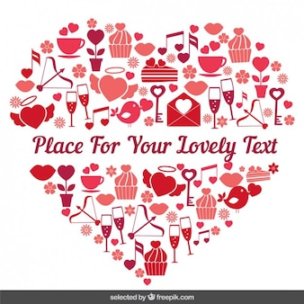 Coração feito com itens valentine