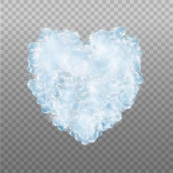 Coração feito de bolhas azuis de espuma com sabão.