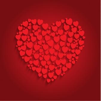 Coração feito de corações pequenos fundo