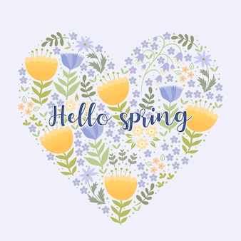 Coração feito de flores com a inscrição olá primavera.