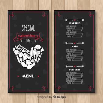 Coração feito de modelo de menu de vegetais dos namorados