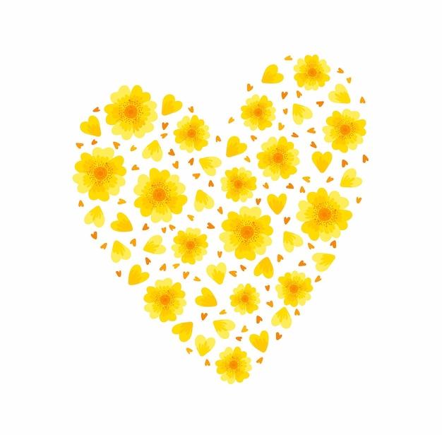 Coração floral amarelo flores de primavera, flores e pétalas elementos florais