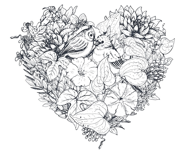 Coração floral. composição do buquê com flores, plantas e pássaros desenhados à mão. ilustração monocromática no estilo de desenho.