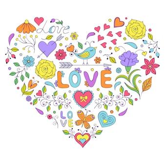 Coração floral dos valentim isolado no fundo branco.