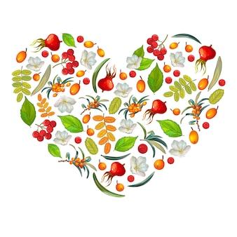 Coração flores e frutas orgânicas.