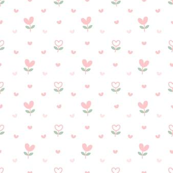 Coração flores sem costura de fundo