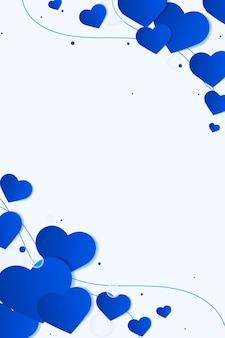 Coração fofo borda lateral azul fundo