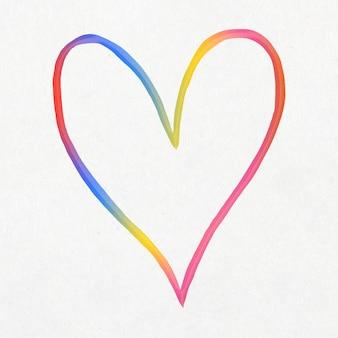 Coração fofo colorido em estilo doodle