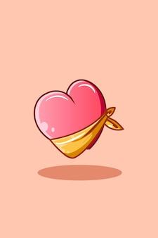Coração fofo com ilustração dos desenhos animados do ícone do lenço