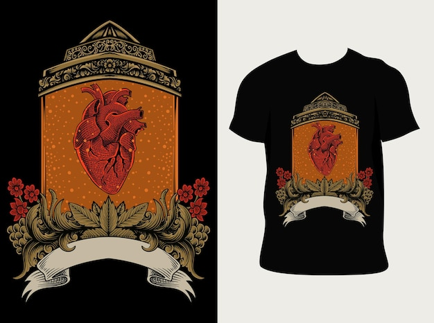 Coração humano em ornamento vintage