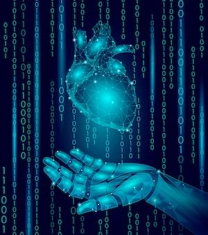 Coração humano robô android mão baixo poli, design de partículas geométricas poligonais,