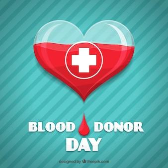 Coração, listrado, fundo, sangue, doador, dia