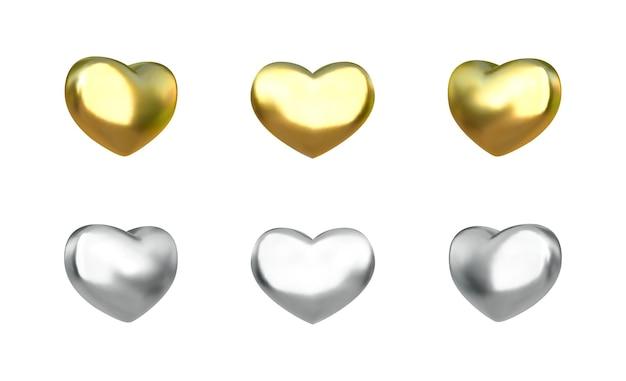 Coração metálico. conjunto de corações de ouro e prata brilhantes realistas. .