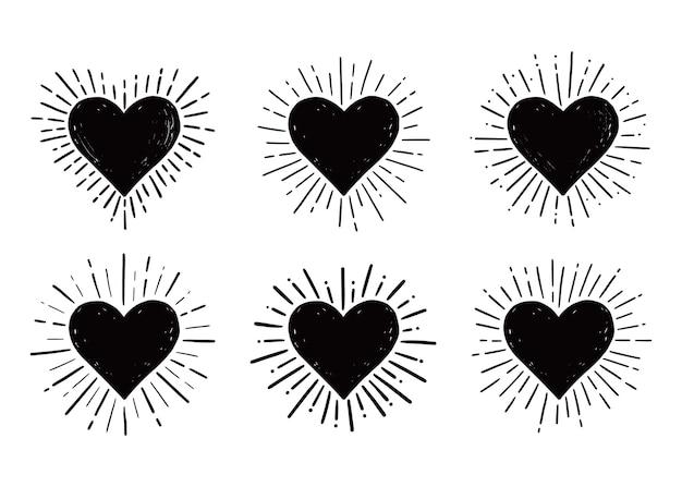 Coração moderno sunburst desenhado à mão
