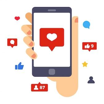 Coração na tela do smartphone. mão segure o smartphone. ilustração em vetor design plano criativo