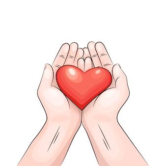 Coração nas mãos.