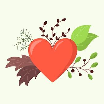 Coração no dia dos namorados com um enfeite feito de folhas, frutos, ramos e agulhas. Vetor Premium