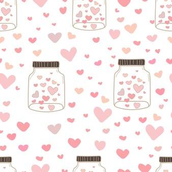 Coração no fundo do teste padrão dos frascos de pedreiro.