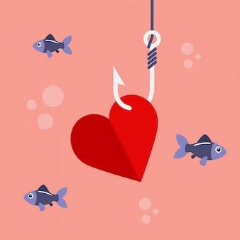 Coração no gancho de pesca
