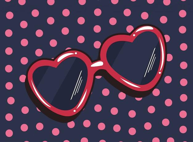 Coração, óculos de sol, pop art, pontos, fundo