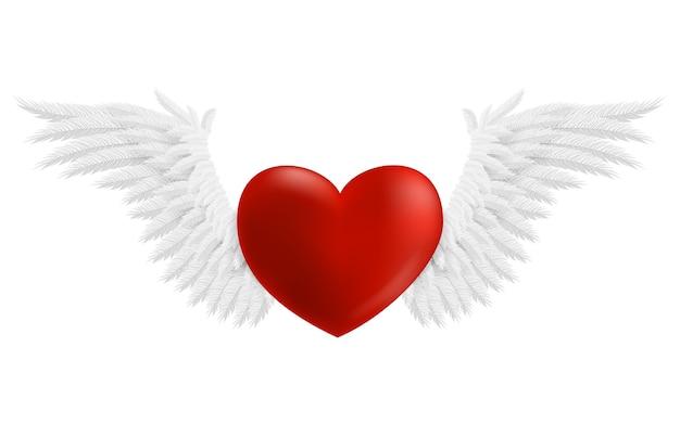 Coração pairando com asas, ilustração isolada no fundo branco