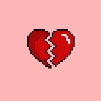 Coração partido com estilo pixel art