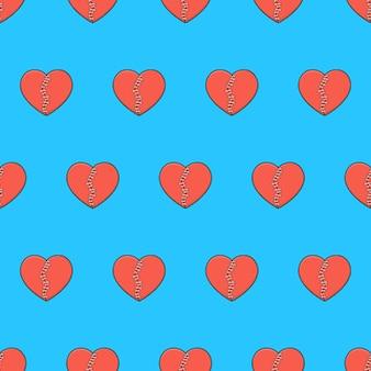 Coração partido com patches padrão sem emenda em um fundo azul. ilustração em vetor tema coração partido