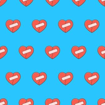 Coração partido com patches padrão sem emenda em um fundo azul. ilustração em vetor tema romance