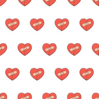 Coração partido com patches padrão sem emenda em um fundo branco. ilustração em vetor tema romance