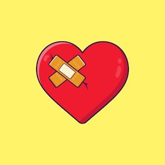 Coração partido legal com ilustração plana em gesso