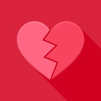 Coração partido. objeto plano estilizado com sombra longa