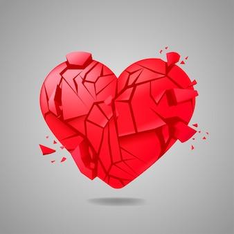 Coração partido selado isolado