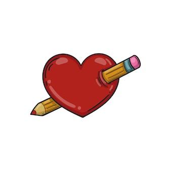 Coração perfurado com um lápis. ilustração vetorial ícone de coração para aplicativos e sites. modelo para o dia dos namorados.
