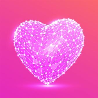 Coração poligonal baixa abstrata. conceito de amor feliz dia dos namorados.