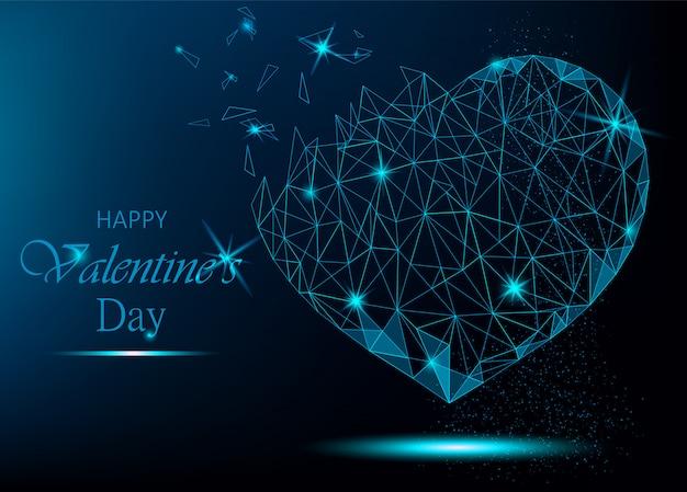 Coração poligonal em fundo azul