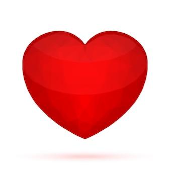 Coração poligonal vermelho