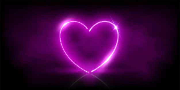 Coração púrpura de néon brilhante com brilhos na fumaça