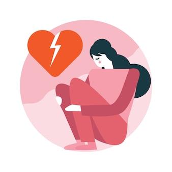 Coração quebrado da mulher que senta-se na sala.